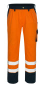00979-860-141 Pantalones con bolsillos para rodilleras - naranja de alta vis./azul marino