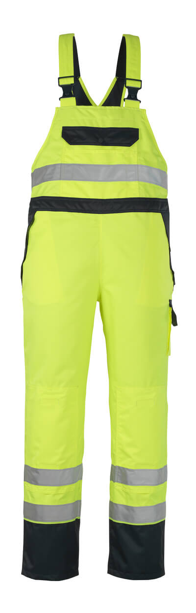 07092-880-171 Peto sobre pantalón con bolsillos para rodilleras - amarillo de alta vis./azul marino