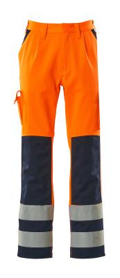 07179-860-141 Pantalones con bolsillos para rodilleras - naranja de alta vis./azul marino