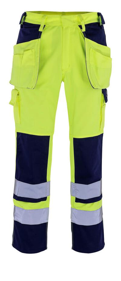 09131-470-171 Pantalones con bolsillos para rodilleras y bolsillos tipo funda - amarillo de alta vis./azul marino