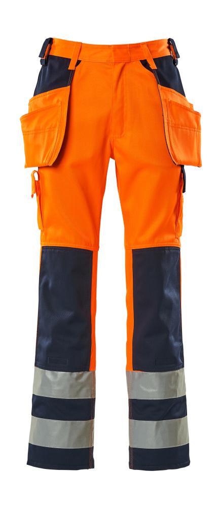 09131-860-141 Pantalones con bolsillos para rodilleras y bolsillos tipo funda - naranja de alta vis./azul marino