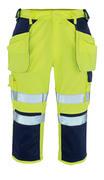09149-470-171 Pantalones con longitud de ¾ con bolsillos para rodilleras y bolsillos tipo funda - amarillo de alta vis./azul marino