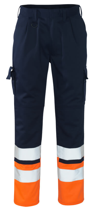 12379-430-0114 Pantalones con bolsillos para rodilleras - azul marino/naranja de alta vis.