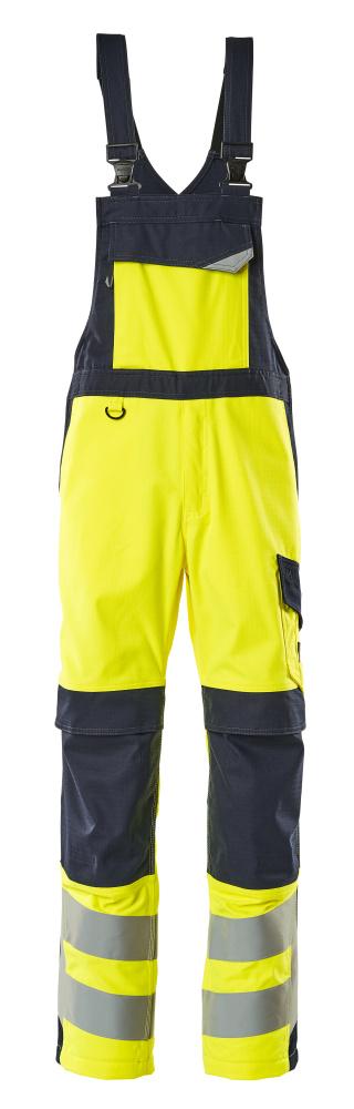 13869-216-17010 Peto con bolsillos para rodilleras - amarillo de alta vis./azul marino oscuro