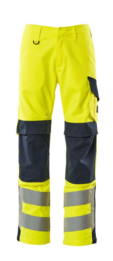 13879-216-17010 Pantalones con bolsillos para rodilleras - amarillo de alta vis./azul marino oscuro