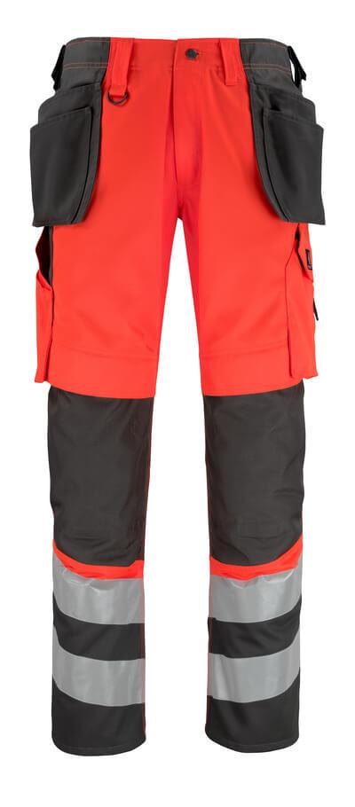 14931-860-A49 Pantalones con bolsillos para rodilleras y bolsillos tipo funda - rojo de alta vis./antracita oscuro