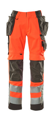 15531-860-14010 Pantalones con bolsillos para rodilleras y bolsillos tipo funda - naranja de alta vis./azul marino oscuro