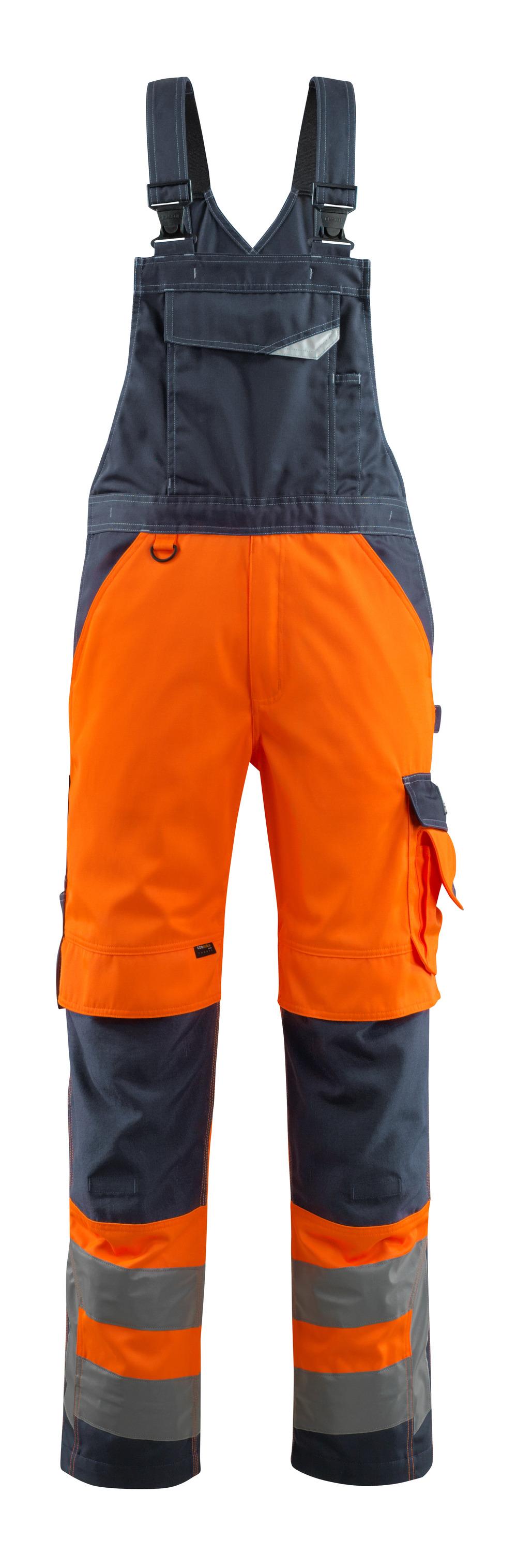15569-860-14010 Peto con bolsillos para rodilleras - naranja de alta vis./azul marino oscuro
