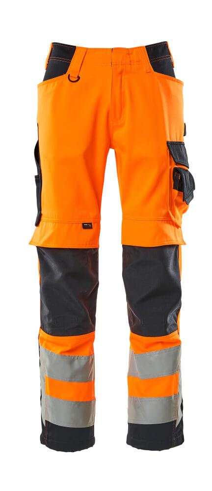 15579-860-14010 Pantalones con bolsillos para rodilleras - naranja de alta vis./azul marino oscuro