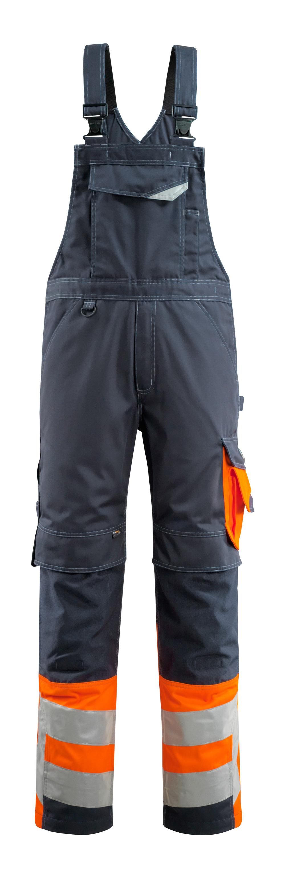 15669-860-01014 Peto con bolsillos para rodilleras - azul marino oscuro/naranja de alta vis.