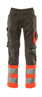 15679-860-01014 Pantalones con bolsillos para rodilleras - azul marino oscuro/naranja de alta vis.