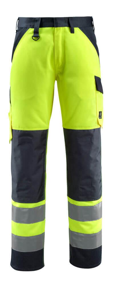 15979-948-17010 Pantalones con bolsillos para rodilleras - amarillo de alta vis./azul marino oscuro