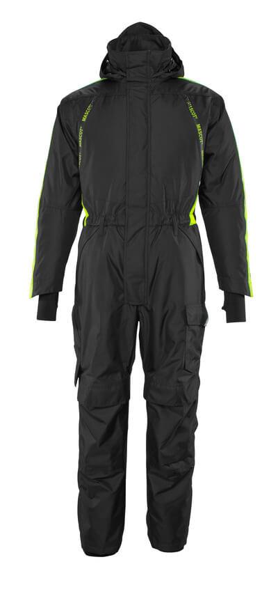 17019-231-0917 Mono de invierno con bolsillos para rodilleras - negro/amarillo de alta vis.