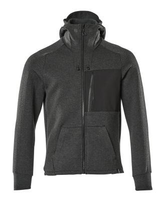 17384-319-09 Sudadera con capucha con cremallera - negro