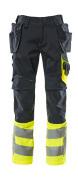 17531-860-01017 Pantalones con bolsillos para rodilleras y bolsillos tipo funda - azul marino oscuro/amarillo de alta vis.
