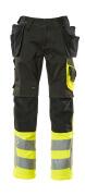 17531-860-0917 Pantalones con bolsillos para rodilleras y bolsillos tipo funda - negro/amarillo de alta vis.