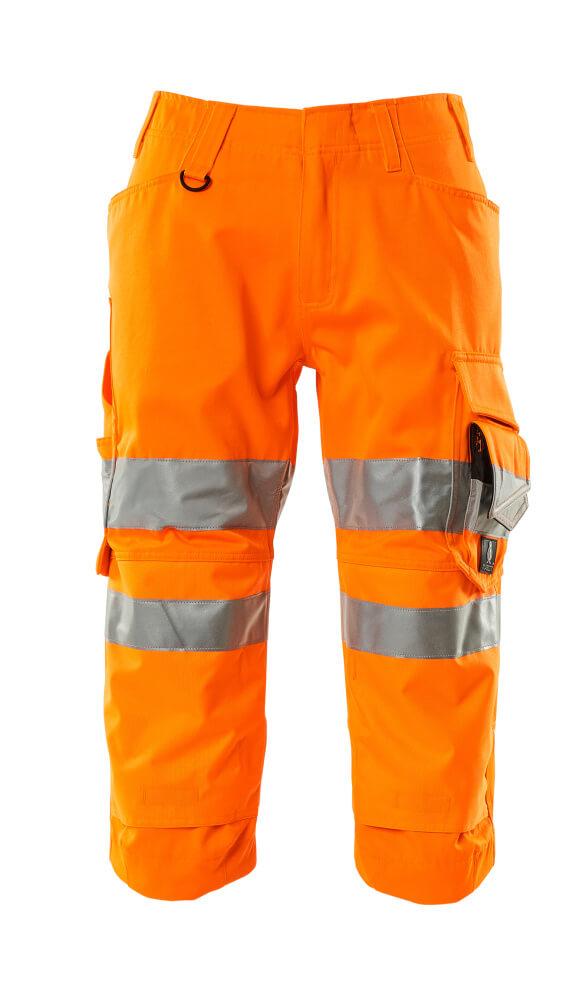 17549-860-14 Pantalones con longitud de ¾ con bolsillos para rodilleras - naranja de alta vis.