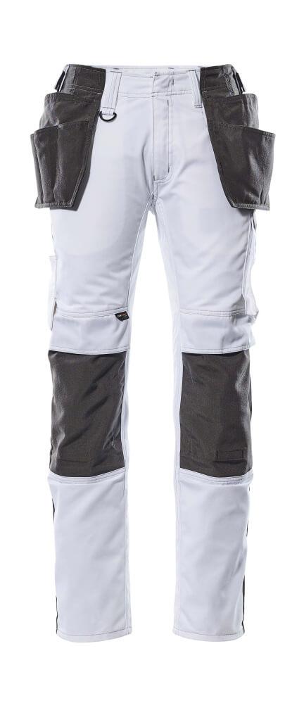 17631-442-0618 Pantalones con bolsillos para rodilleras y bolsillos tipo funda - blanco/antracita oscuro