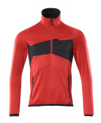 18003-316-20209 Jersey polar con media cremallera - rojo tráfico/negro