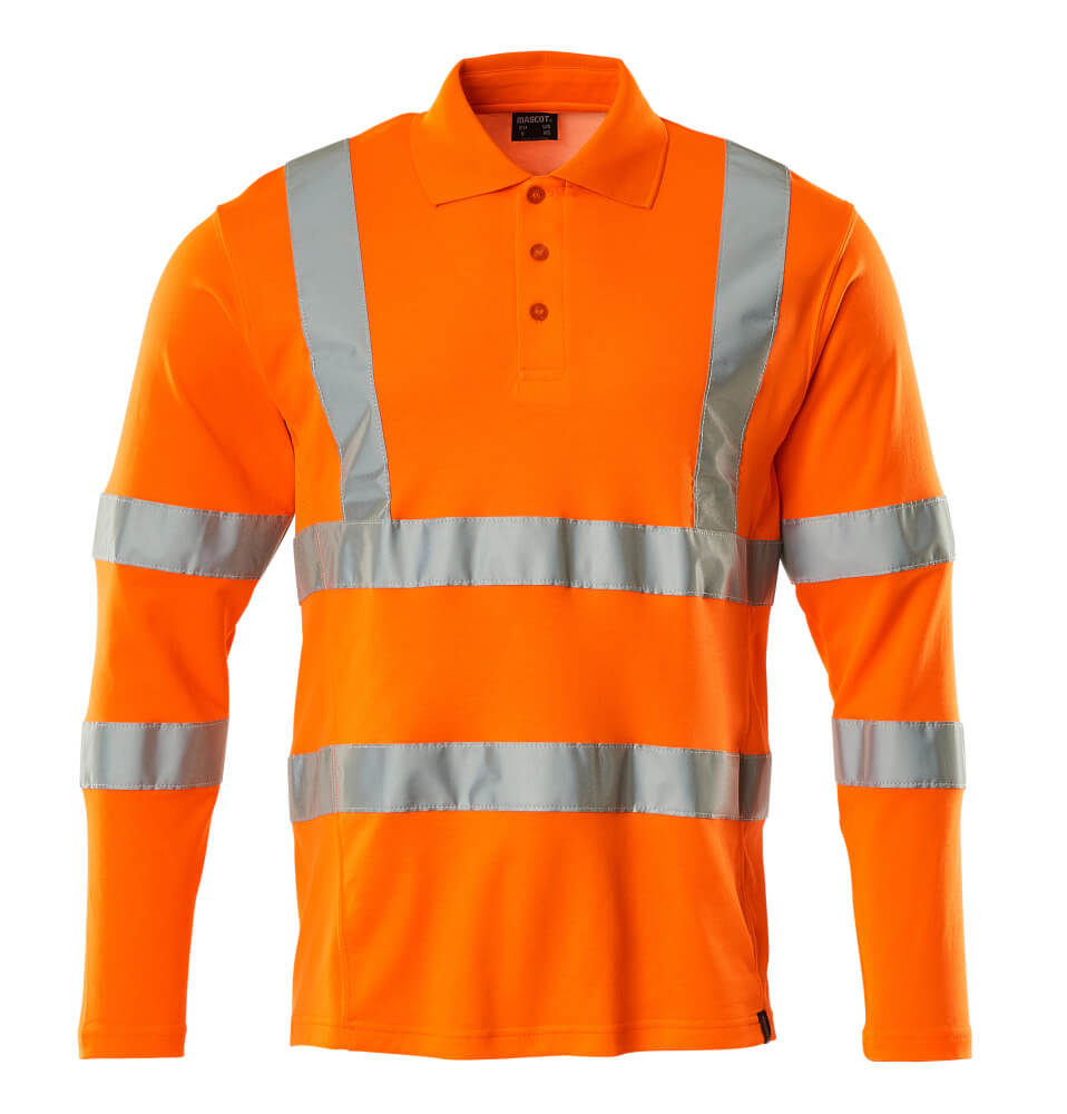 18283-995-14 Polo, manga larga - naranja de alta vis.