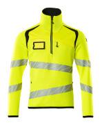 19005-351-1709 Jersey de punto con media cremallera - amarillo de alta vis./negro