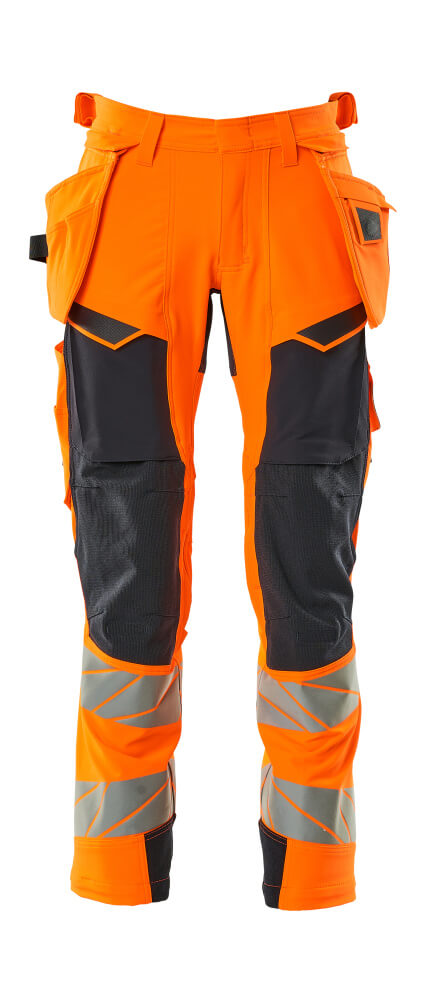 19031-711-14010 Pantalones con bolsillos tipo funda - naranja de alta vis./azul marino oscuro