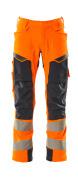 19079-511-14010 Pantalones con bolsillos para rodilleras - naranja de alta vis./azul marino oscuro