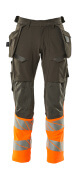 19131-711-01014 Pantalones con bolsillos tipo funda - azul marino oscuro/naranja de alta vis.