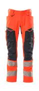 19579-236-14010 Pantalones con bolsillos para rodilleras - naranja de alta vis./azul marino oscuro