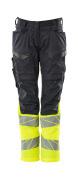 19678-236-01014 Pantalones con bolsillos para rodilleras - azul marino oscuro/naranja de alta vis.