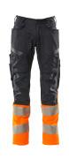 19679-236-01014 Pantalones con bolsillos para rodilleras - azul marino oscuro/naranja de alta vis.