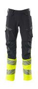 19879-711-01017 Pantalones con bolsillos para rodilleras - azul marino oscuro/amarillo de alta vis.