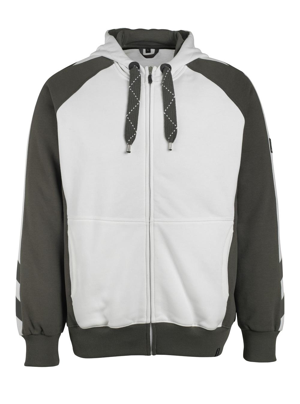 50509-811-0618 Sudadera con capucha con cremallera - blanco/antracita oscuro